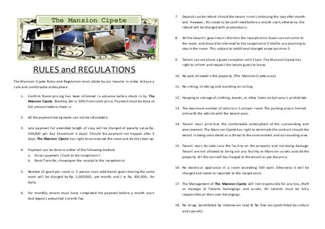 rules and regulation for rent a room