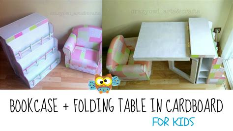 childrens desk and bookshelves diy recycling cardboard bookcase and folding table for