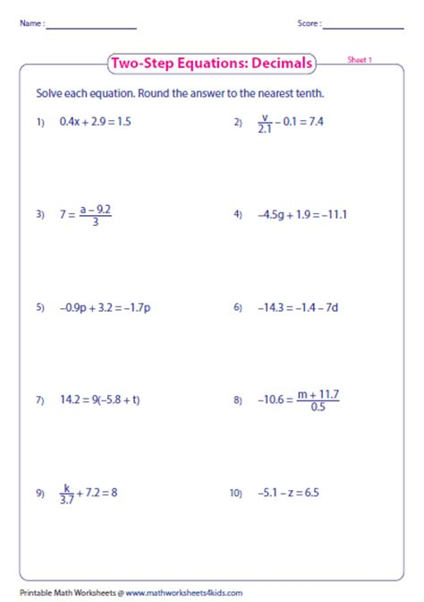 One Step Equations Worksheet Pdf by One And Two Step Equations Worksheet Worksheets 2