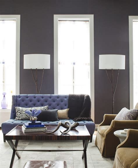 purple sofa transitional living room amanda nisbet design