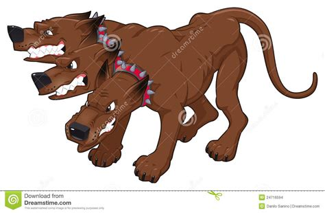 mythological dog cerberus vector illustration in cartoon style cerberus cartoon vector illustration cartoondealer com