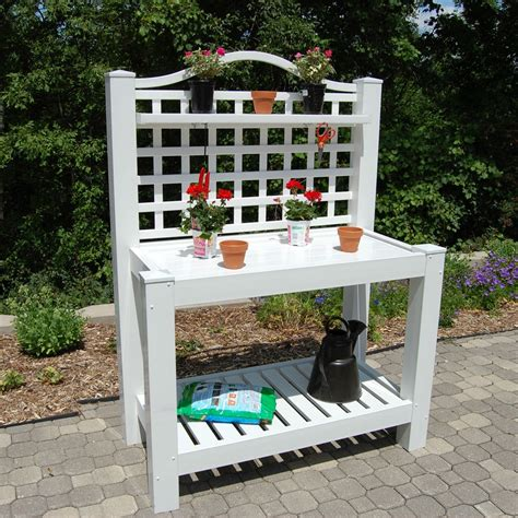 vinyl potting bench white vinyl outdoor potting bench with trellis made in