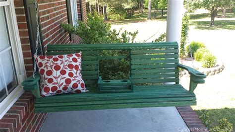 cool porch swings green porch swing from cypress moon this cool swing has a