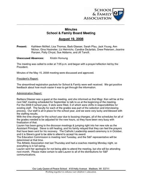 best photos of church board meeting minutes template