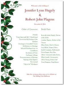 printable holly wedding program template