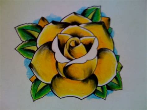 old school yellow rose tattoo yellow rose by kirzten on deviantart