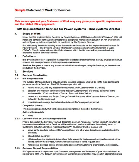 exles of statement of work template 4 statement of work templates excel xlts