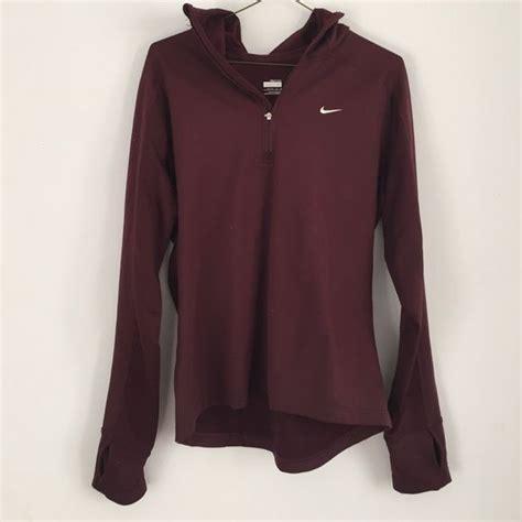 Sale Jaket Hoodie Just Do It Nike Maroon quarter zip sweaters womens