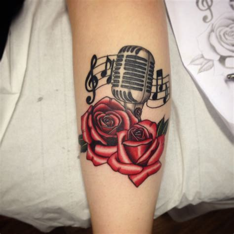 colour tattoo designs oldschool microphone and roses colour by sammy