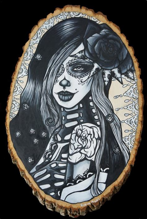 gothic pin up girl tattoo designs items similar to ghostflower day of the dead