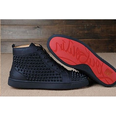 christian louboutin bottom 3 spikes on top black matte leather shoes christian