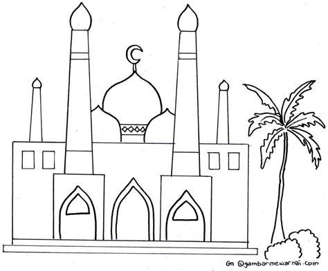 gambar mewarnai masjid gambar mewarnai