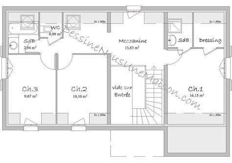 plan maison 3 chambres etage plan maison etage 3 chambres gratuit kirafes