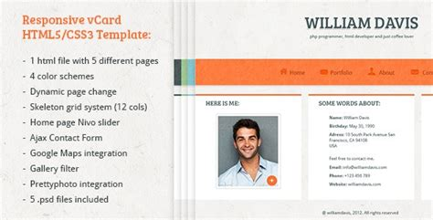 free html5 business card template william davis vcard responsive html5 template