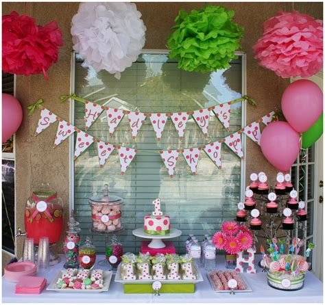 themes in birthday party polka dot sweet shoppe 1st birthday party pizzazzerie