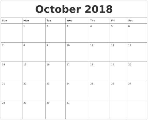 october print monthly calendar