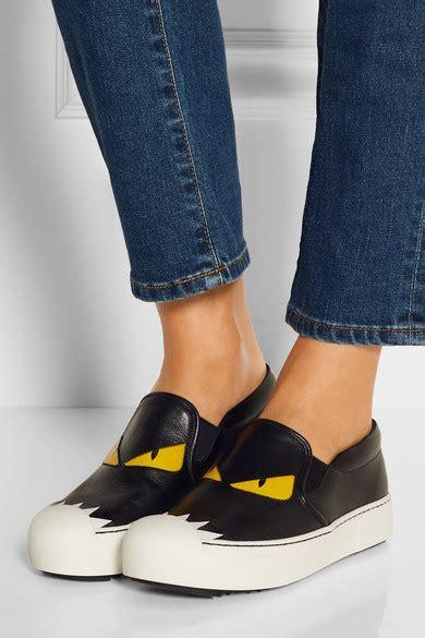 Slip On Fendi 2456 W fendi bag bug leather slip on sneakers net a porter