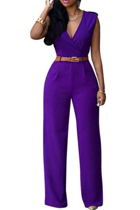 Jumpsuit Import High Quality 1 womens v neck sleeveless high waist wide leg jumpsuit
