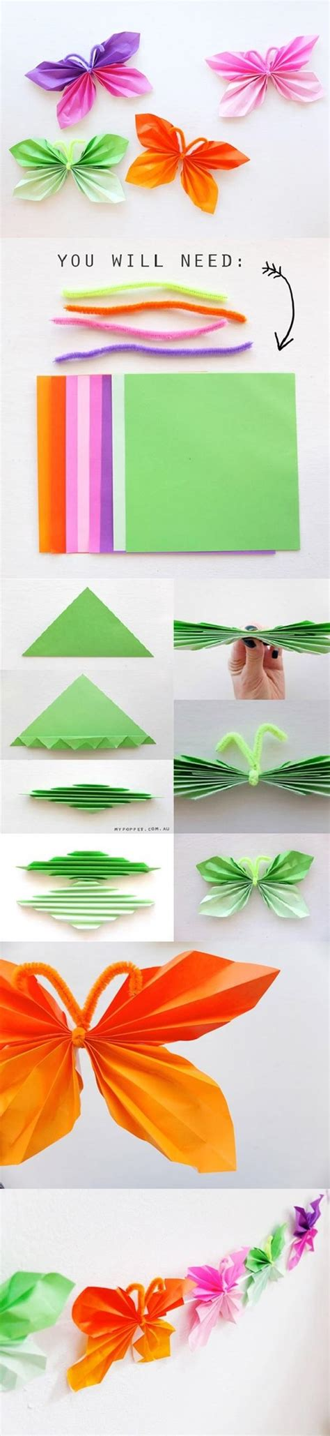 Paper Craft Butterflies - colorful diy butterfly crafts projects to make your
