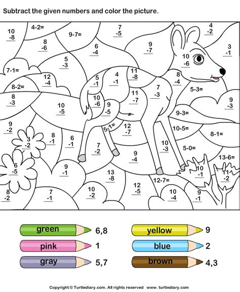 subtraction coloring pages for kindergarten color by subtracting numbers worksheet turtle diary
