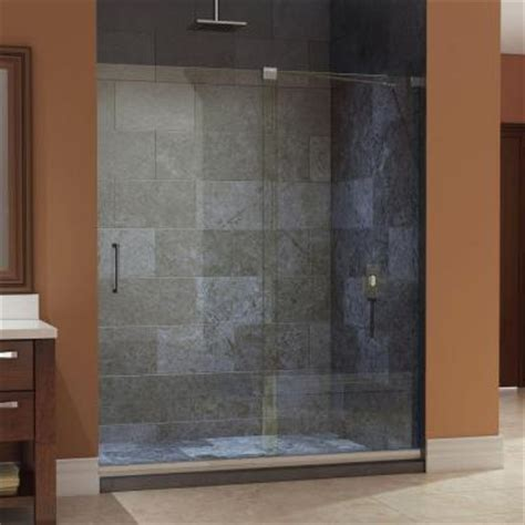 Shower Doors At Home Depot Dreamline Mirage 56 In To 60 In X 72 In Frameless Sliding Shower Door In Brushed Nickel Shdr