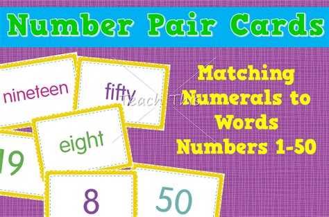 printable number words 1 50 number pair cards matching numerals to words 1 to 50