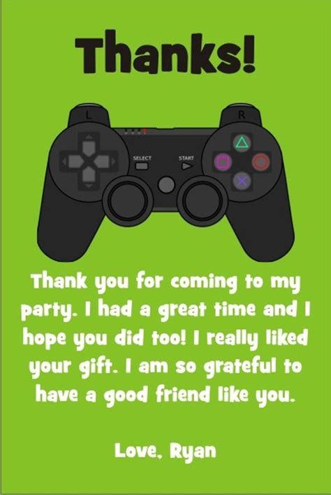 free printable xbox birthday cards playstation xbox video game thank you card personalized