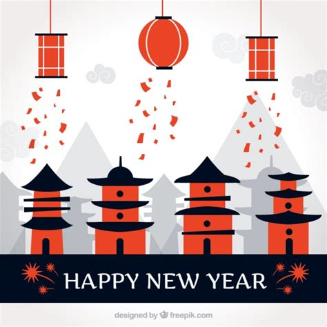 freepik new year happy new year background with houses and lanterns