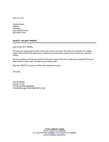 letter stockholders holiday template word