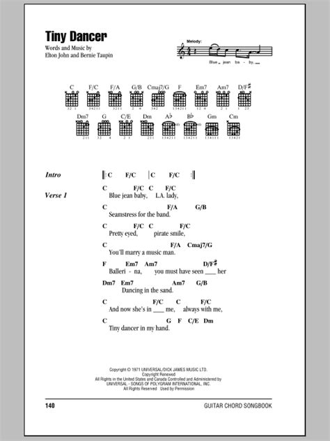 printable lyrics to dancing in the sky tiny dancer sheet music direct