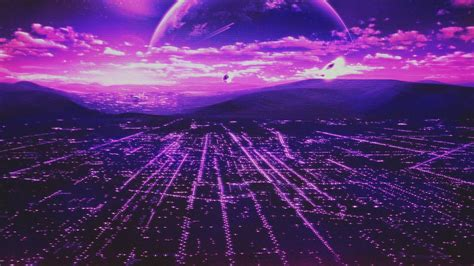 retro style scanlines city planet wallpapers hd