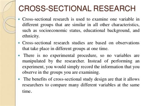 what is cross sectional research design research design