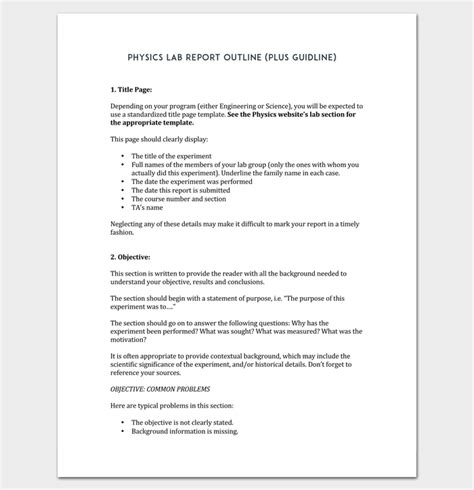 report outline template 19 sles formats exles