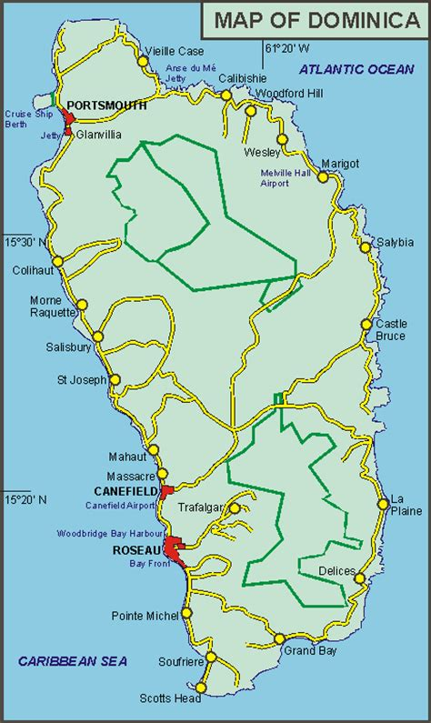 dominica on a map dominica maps