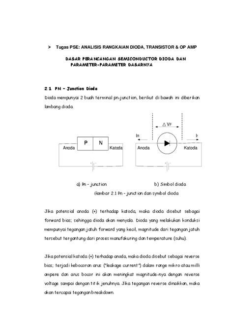 Pdf Tugas Pse Analisis Rangkaian Dioda Transistor Op Amp Dasar
