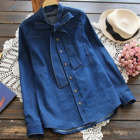 Collar Shirt With Bow Tie Blue 2016 sping autumn blue denim bow tie collar sleeve blouse shirt high quality blusas