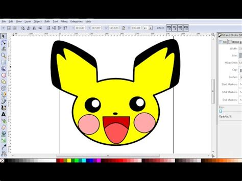 inkscape tutorial cartoon inkscape tutorial how to draw pichu from pokemon in