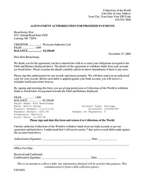 Agreement Letter For Bank Downloads Eft Notice Ach Authorization Letter