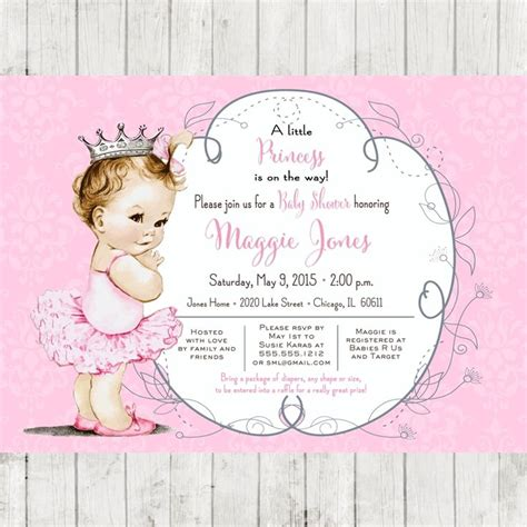 vintage ballerina baby shower invitation for