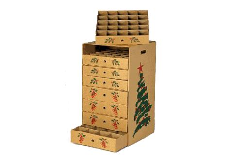 8 drawer corrugated cardboard christmas ornament storage