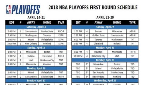 Mba Playoff Tv Schedule by Nba Playoff Fixtures Confirmed Fixtures