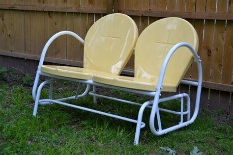 retro patio glider new outdoor furniture yellow retro glider