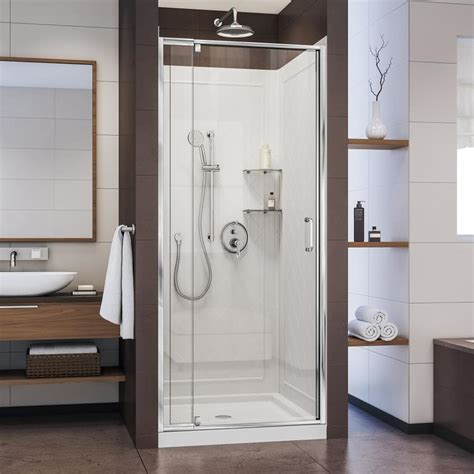 Alcove Shower Kits by Shop Dreamline Flex Chrome 3 Alcove Shower Kit Common 32 In X 32 In Actual 76 75 In X