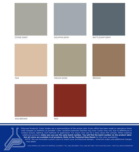 Polycoat Colors Chart Standard Colors Chart