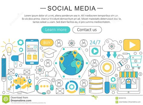 design header social media vector modern line flat design social media concept