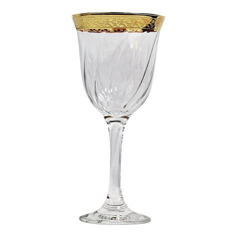 wine goblets set of 6 white wine goblets gold band venetian design