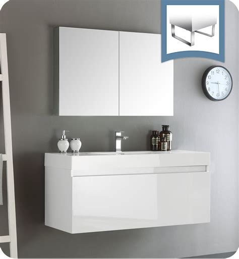Wall Hung Bathroom Vanities Cabinets Fresca Fvn8011wh Mezzo 48 Quot White Wall Hung Modern Bathroom Vanity With Medicine Cabinet