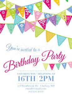 Papel Picado Template For by Vector Papel Picado Birthday Invitation Template Stock