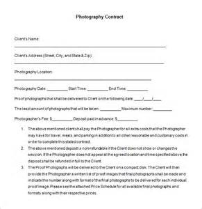 Photographer Contract Template by 7 Commercial Photography Contract Templates Free Word