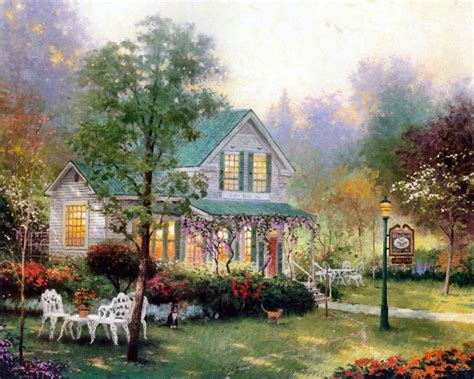 cottage paintings by kinkade kincade home living cottages of a tribute